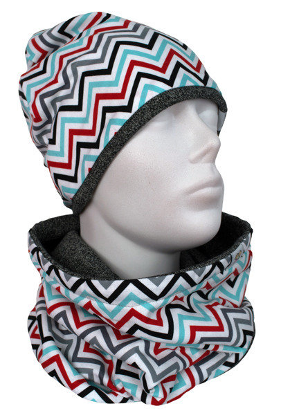 Cap and Muffler Colored zigzag