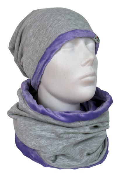 Cap and Muffler Violet Minky